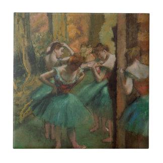 Ballet Artwork Dancers Pink and Green Edgar Degas Small Square Tile