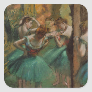 Ballet Artwork Dancers Pink and Green Edgar Degas Square Sticker