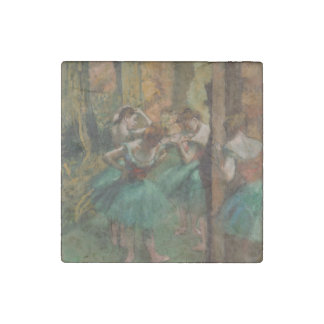 Ballet Artwork Dancers Pink and Green Edgar Degas Stone Magnet