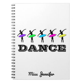 Ballet Ballerina Personalized Dance Teacher Gift Spiral Note Book