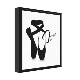 Ballet Ballerina Pointe Shoes Dance B&W Print Gallery Wrap Canvas