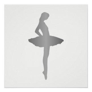 Ballet Ballroom Urban Dance Girl White Minimalism Poster