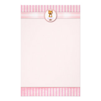 Ballet Bear Vintage Pink Candy Stripe A4 Letter Personalized Stationery