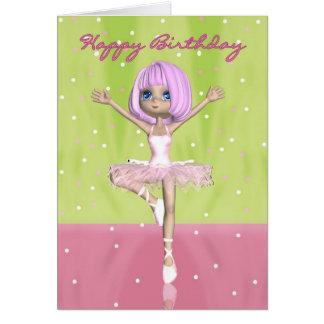 Ballet Birthday Card - Cute Ballerina