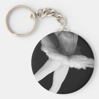Ballet - Dance - Ballerina 9 - Black & White Basic Round Button Key Ring