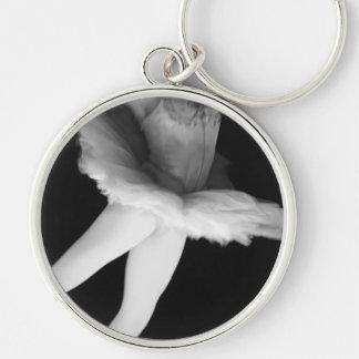 Ballet - Dance - Ballerina 9 - Black & White Silver-Colored Round Key Ring