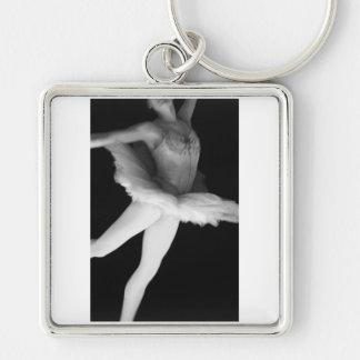 Ballet - Dance - Ballerina 9 - Black & White Silver-Colored Square Key Ring