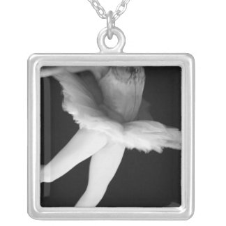 Ballet - Dance - Ballerina 9 - Black & White Silver Plated Necklace