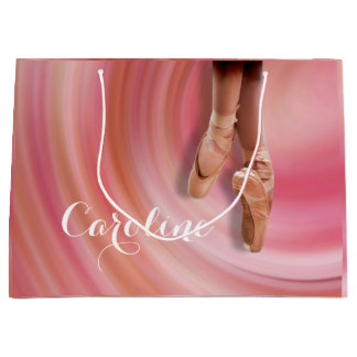 Ballet Dancer in Toe Shoes with Name Large Gift Bag