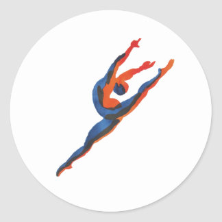 Ballet Dancer Leaping Classic Round Sticker