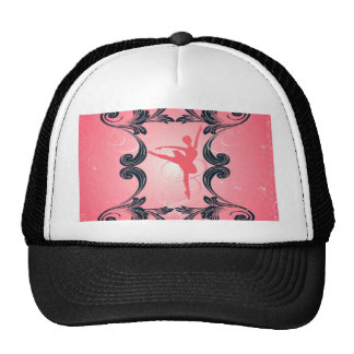 Ballet dancer silhouette on soft pink background trucker hats
