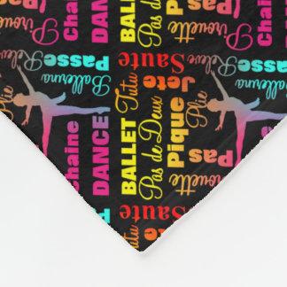 Ballet Dancing Ballerina Colorful Text Typography Fleece Blanket