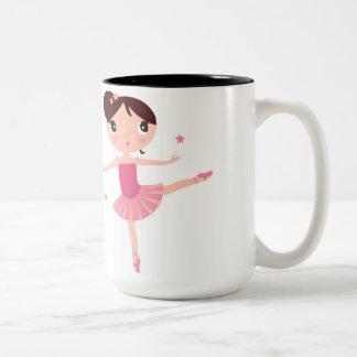 Ballet Dancing Girl in Pink Enjoying Two-Tone Mug