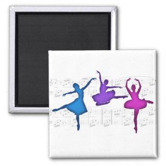 Ballet Day Ballerinas Square Magnet