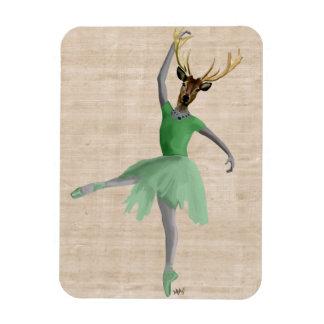 Ballet Deer in Green 2 Rectangular Photo Magnet