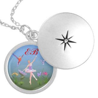 Ballet Fantasy, Flowers, Butterfly, Monogram Round Locket Necklace