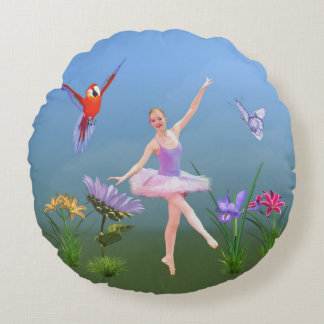 Ballet Fantasy, Flowers, Parrot, Butterfly Round Cushion