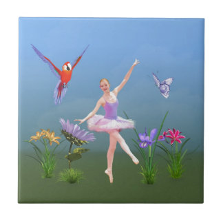 Ballet Fantasy, Flowers, Parrot, Butterfly Small Square Tile