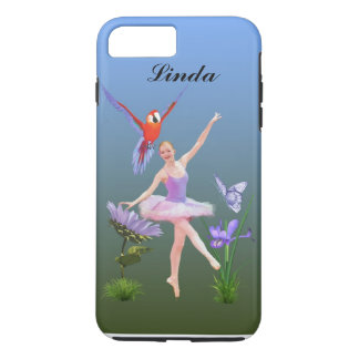 Ballet Fantasy, Flowers, Parrot, Customizable Name iPhone 7 Plus Case