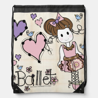 Ballet Girl Drawstring Backpack Bag