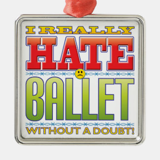 Ballet Hate Face Silver-Colored Square Decoration
