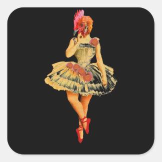 Ballet Hen Square Sticker