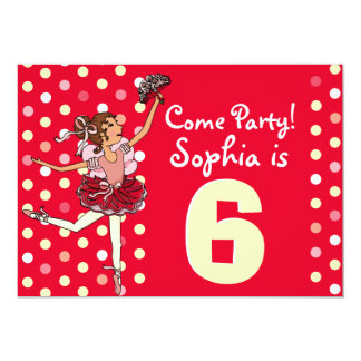 Ballet kids party red yellow invitation