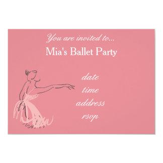Ballet Party for girls pink ballerina 13 Cm X 18 Cm Invitation Card