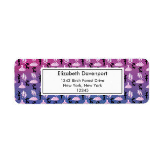 Ballet Pattern on Pink and Blue Gradient Return Address Label