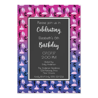 Ballet Pattern on Pink and Purple Birthday Party 13 Cm X 18 Cm Invitation Card