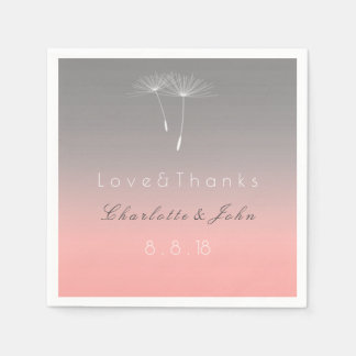 Ballet Pink Gray Ombre Dandelion Wedding Disposable Napkin