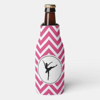 Ballet Pink White Chevron Ballerina Monogram Bottle Cooler