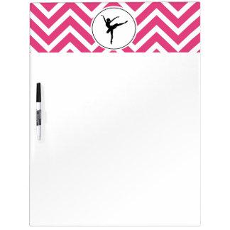 Ballet Pink White Chevron En Pointe Ballerina Dry Erase Board