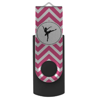 Ballet Pink White Chevron En Pointe Ballerina USB Flash Drive