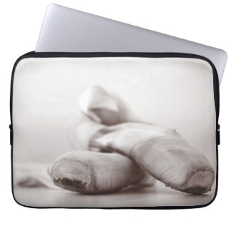 Ballet Pointe Shoes on Dance Floor Template Laptop Sleeve