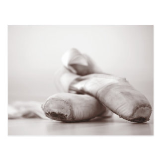 Ballet Pointe Shoes on Dance Floor Template Postcard