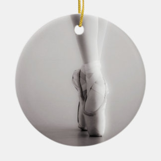Ballet Pointe Shoes Sepia Dancing Slippers Ceramic Ornament
