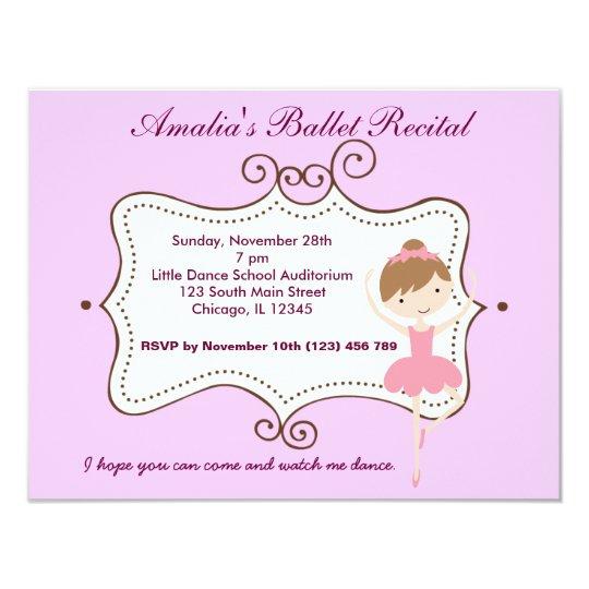 Ballet Recital 11 Cm X 14 Cm Invitation Card
