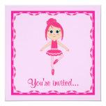 """Ballet Recital: Beginner Ballerina 5.25"""" Square Invitation Card"""