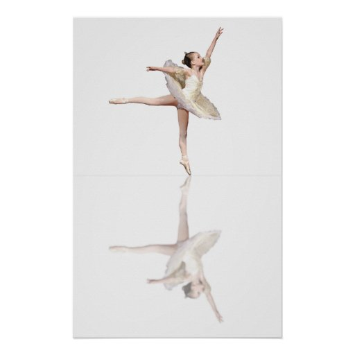 ballet reflections white posters