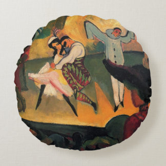 Ballet Russes, Russian Ballet by August Macke Round Cushion