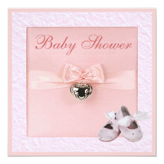 Ballet Shoes & Locket Girls Pink Baby Shower 13 Cm X 13 Cm Square Invitation Card