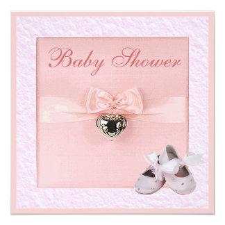 Ballet Shoes & Locket Girls Pink Baby Shower Card