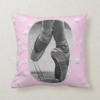ballet shoes on pointe vintage pink lace  cushion