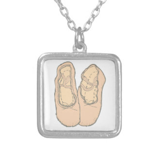 Ballet shoes silver plated necklace