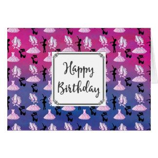 Ballet Theme Pattern with Dance Attire Birthday Card