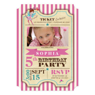 Ballet Ticket   Birthday   Photo Party Invitation