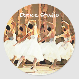 Ballet White Tutus On Stage Dance Round Sticker