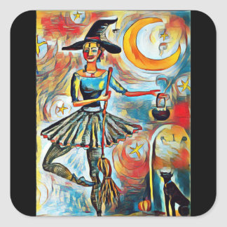 Ballet Witch Square Sticker