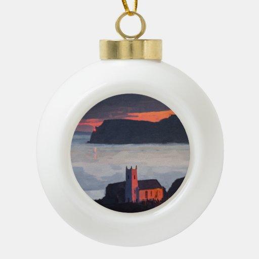 Ballintoy Church, Ireland at Sunset Ornaments